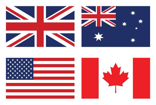 veľká británia, usa, kanada, austrália vlajky