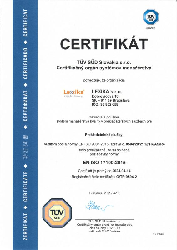 certifkát ISO 17100 Lexika