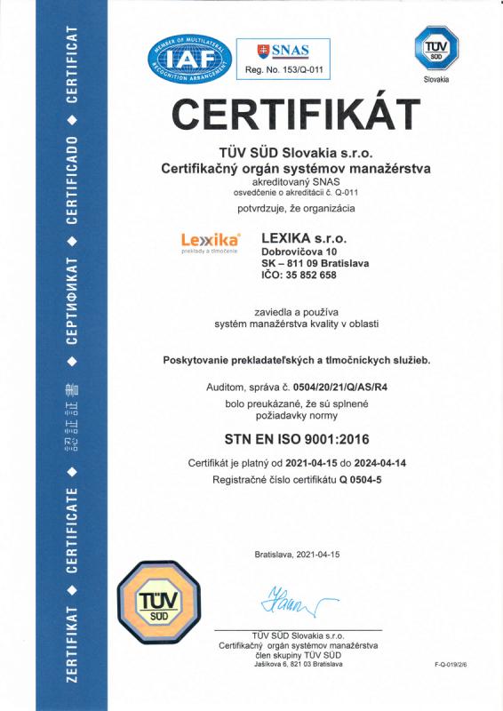 certifkát ISO 9001 Lexika