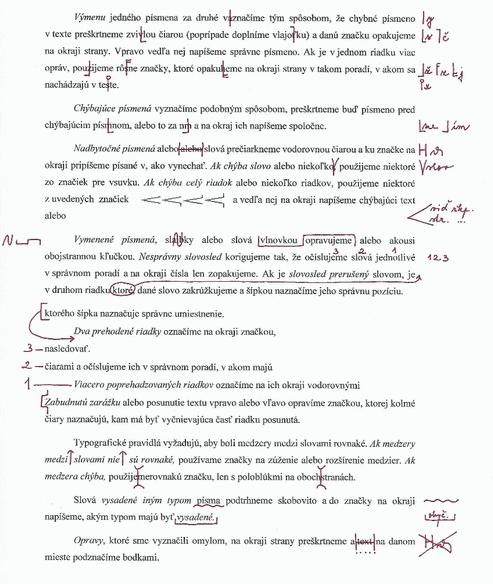 korektorské značky v texte